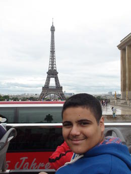 Mohammad on the bus with Eiffel Tower , Mohsen H - September 2013
