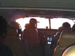 Inside the airplane at sunset., taylor - December 2011