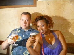 Enjoying our first beer of the tour , JOANNE L - July 2012