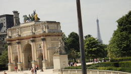 The Arc de Triomphe with the Eiffel Tower in the background, Travel Mom - July 2011