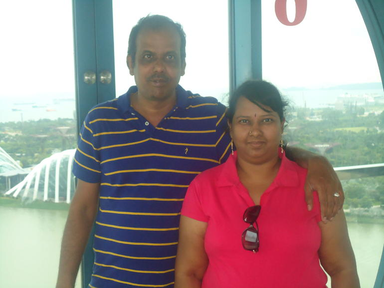 Singapore Flyer with my wife