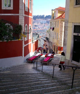 Stairs from Rosio train station to Bairro Alto (calçada do duque) , C S - March 2012