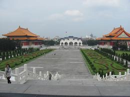 From left to right, the National Concert Hall, Main Gate & the National Theatre make an impressive vista from the Chiang Kai-Shek Memorial Hall., Marshall D - November 2010