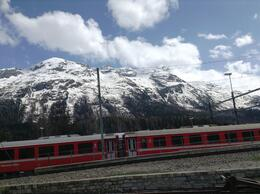 The Bernina Express in St. Moritz , Barbie I R - May 2013