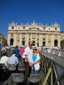 Photo of Rome Papal Audience Ticket at Vatican City Me and Joe outside St Peter's