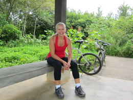 Photo of Singapore Singapore Bike Adventure around Pulau Ubin Having a rest at Butterfly Hill