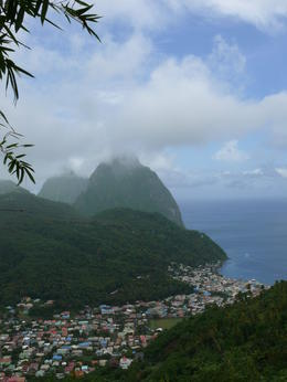 View of the Pitons, one is partially covered in clouds , silkeharkin - June 2012