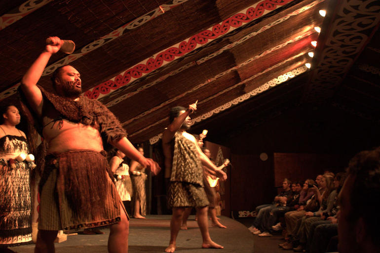 The legendary Haka, intimidatingly performed at Tamaki Maori Village - Auckland