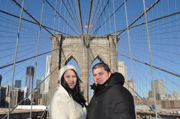 One of my favorite pictures of me and my new husband on the Brooklyn bridge , MrsPsychobear - January 2012