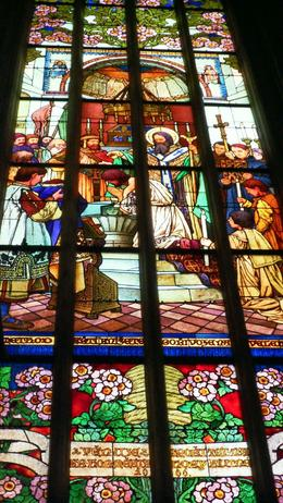 Painted, not stained, glass at the main church in Kutna Hora, Stephen K - August 2010