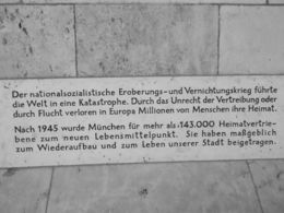 This plaque is on the wall inside the arch way of the new Town Hall leading off Marieplatz. This plaque notes that the Nazi Party initiated a world catastrophe, i.e. WWII, and caused millions of ... , Jennifer N - August 2015