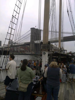 Photo of New York City Classic Schooner Sailing Tour in New York City: Wine-Tasting, Craft Beer or Jazz Sail Approaching Brooklyn Bridge