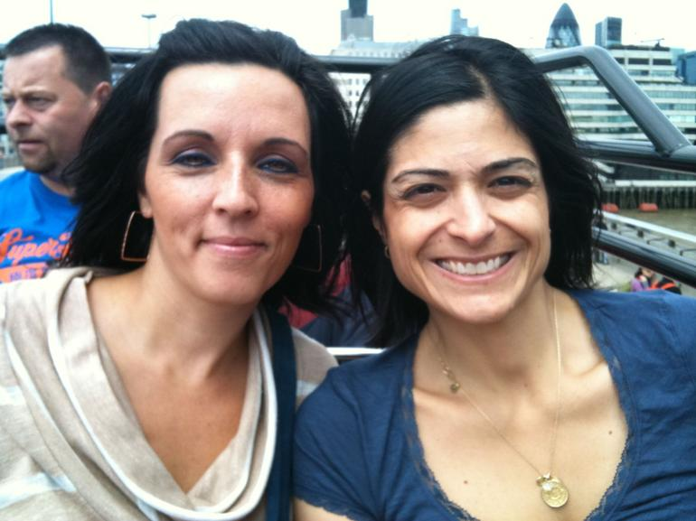 Lisa and Toni on the hop on hop off bus - London