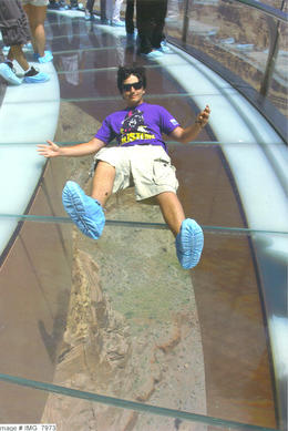 Our son Chris from NJ and quot;Free-falling and quot; on the Skywalk...4000' above the ground... , Craig - June 2012