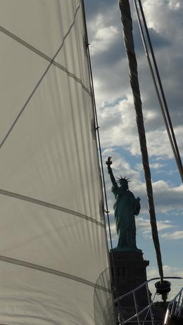 Photo of New York City Classic Schooner Sailing Tour in New York City: Wine-Tasting, Craft Beer or Jazz Sail Statue of Liberty from boat