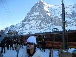 Me, in front of the mountains, about to board the train, in the freezing cold!, Belinda M - January 2009