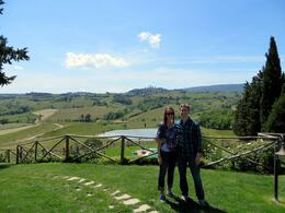 We had this view during the whole lunch at the vineyard. The city on the hill in the background is San Gimignano, which we went to right after the lunch. , LadeFishles - May 2014