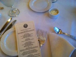 Beautiful table setting and great dinner menu, taylor - April 2013