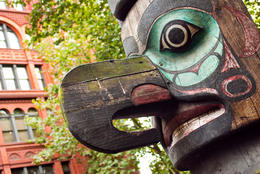 Photo of   Totem pole at Pioneer Square, Seattle WA