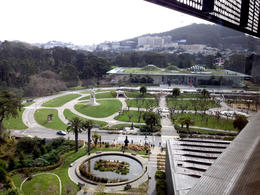 Looking out towards the California Academy of Sciences , Amy - May 2013