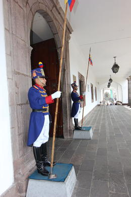 Guards outside the president's office in Quito, Bandit - October 2013