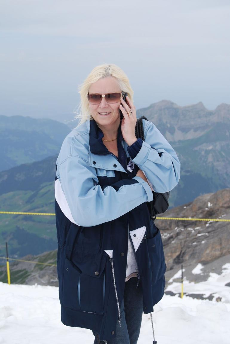 My wife from the top of Mount Titlis calling her mother - Zurich