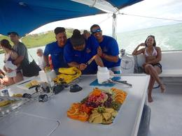 Photo of San Juan San Juan Snorkel and Picnic Cruise Our crew preparing the fruit art