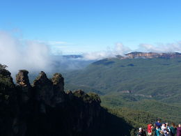 Tourists crowd the overlook near the Three Sisters at Katoomba , Janelle E - April 2015