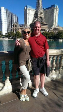 Me and my husband next to the Bellagio Lake , Tetyana C - November 2013