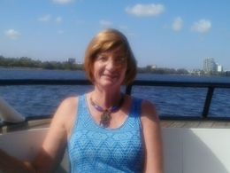 This is me sitting at the front of the boat all ready for a day of cruising and wine tasting. , Diane M B - March 2015