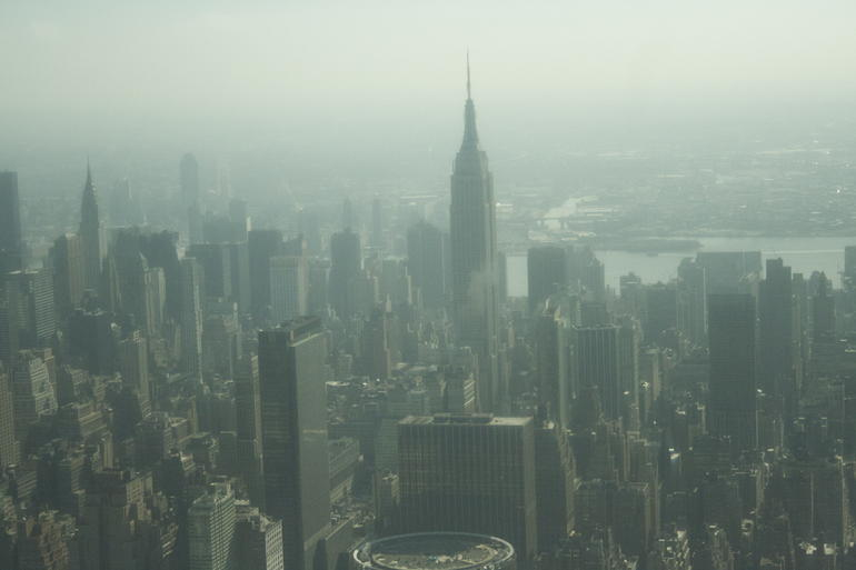 An arial view of a beautiful morning. - New York City