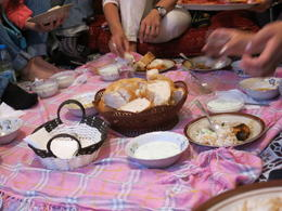 Photo of Istanbul Eat Like a Local: Istanbul Food and Culture Tour with Dinner at Local Family Home bread and yogurt.