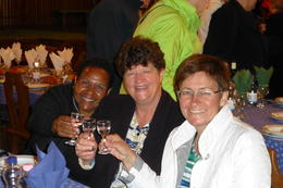 Merril, Lis and Susan (Tour Guide) enjoying pre-dinner drinks at the Budapest Folklore Show and Dinner - a great night out! , Lis and Merril - October 2013