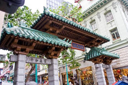 "Dragon Gate - entrance to Chinatown, San Francisco. It is inscribed with the saying ""All under heaven is for the good of the people,"" by Dr. Sun Yat-sen. - April 2011"