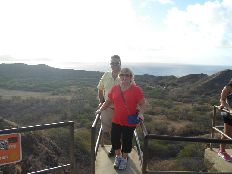 High up the climb on Diamond Head Crater - Oahu