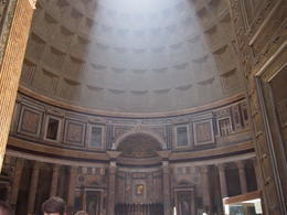 Light shining in from the oculus in the dome of the pantheon. , Tara - August 2012