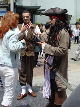 This Captain Jack Sparrow impersonator was in front of Grauman's Chinese Theatre. There were several of them willing to pose with you for a photo for tips. This fellow was the one who looked most..., Patricia L - May 2011