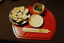 The finished product: sauteed spinach with sesame seeds and multi colored maki! YUMMY! , Nita - April 2014