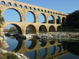 The famous ancient Roman aqueduct built to transport water to the city of Nimes., Dale B - November 2009
