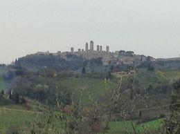 Beautiful view of San Gimignano from the winery/farm where we had lunch. , Kelley W - April 2016