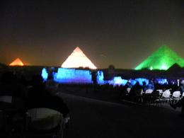 Pyramids lit up during the Cairo Light Show. , Margaret D - April 2011