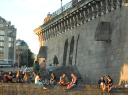 Parisians enjoying the evening along the Seine, which is easily accessible. , Barbara J B - June 2014