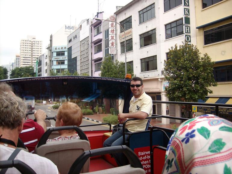 Korhan on the hop-on hop-off bus - Singapore