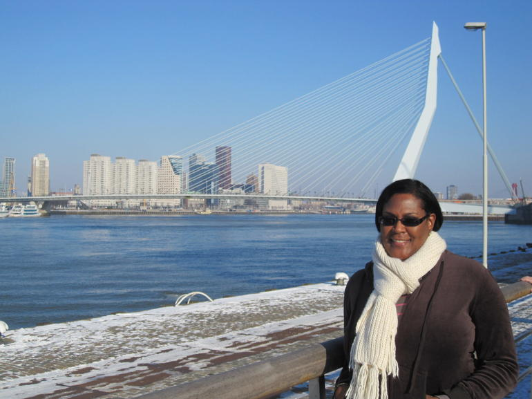 with the Erasmus Bridge behind me