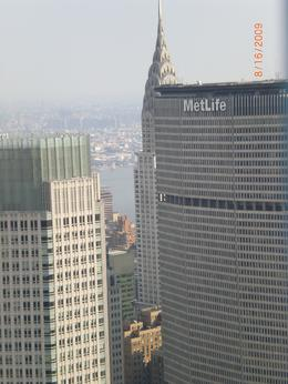 Photo of New York City Top of the Rock Observation Deck, New York Metlife with Chrysler in background
