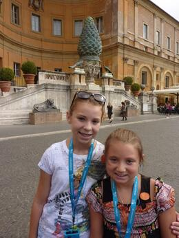 Photo of Rome Skip the Line: Vatican Museums Walking Tour including Sistine Chapel, Raphael's Rooms and St Peter's My girls in the Pinecone courtyard