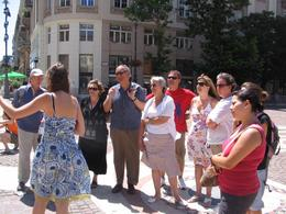 In this picture you will see Rob and Carol, Linda, Mark and Jennifer with the guide outside St. Stephens Basilica. This was a really good and informative trip...the food and wine were good too., John B - July 2008