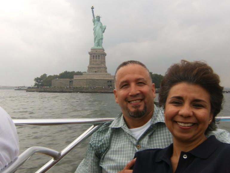 Eddie and Lady T, in front of Lady Liberty from the beast boat