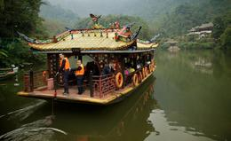 Photo of Chengdu Qingcheng Mountain and Dujiangyan Irrigation System Day Trip from Chengdu Boat on Qingcheng Mountain
