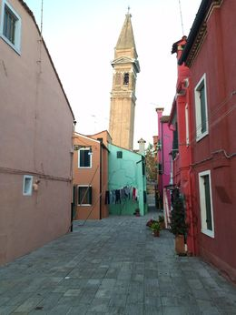 Colorful houses and the island's own leaning tower. , Tom H - November 2015